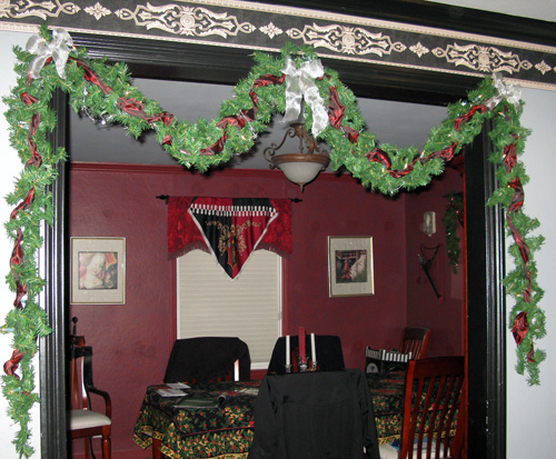 A similar garland is over the dining room window not shown